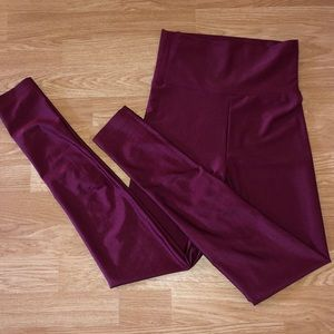 High waisted maroon nylon leggings